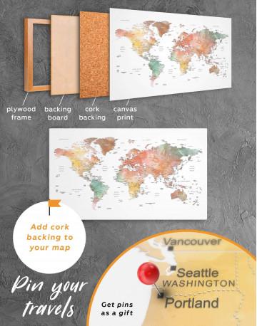 Brown Watercolor Push Pin World Map Canvas Wall Art - image 3