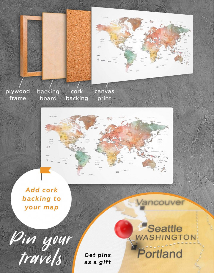Brown Watercolor Push Pin World Map Canvas Wall Art - Image 3