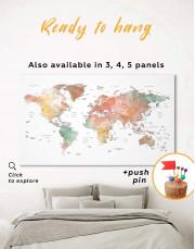 Brown Watercolor Push Pin World Map Canvas Wall Art