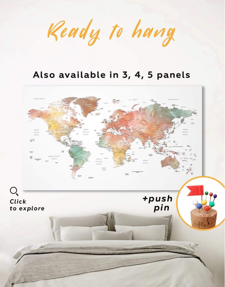 Brown Watercolor Push Pin World Map Canvas Wall Art - Image 0