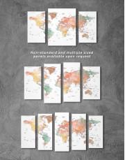 Brown Watercolor Push Pin World Map Canvas Wall Art - Image 2