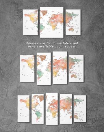 Brown Watercolor Push Pin World Map Canvas Wall Art - image 5