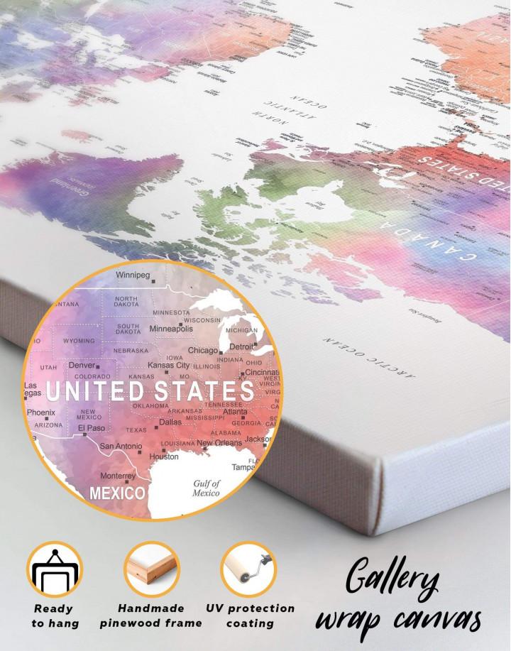Violet Watercolor Push Pin World Map Canvas Wall Art - Image 1