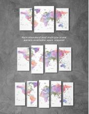 Violet Watercolor Push Pin World Map Canvas Wall Art - Image 5