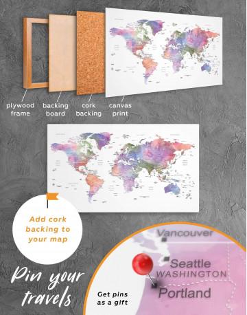 Violet Watercolor Push Pin World Map Canvas Wall Art - image 4