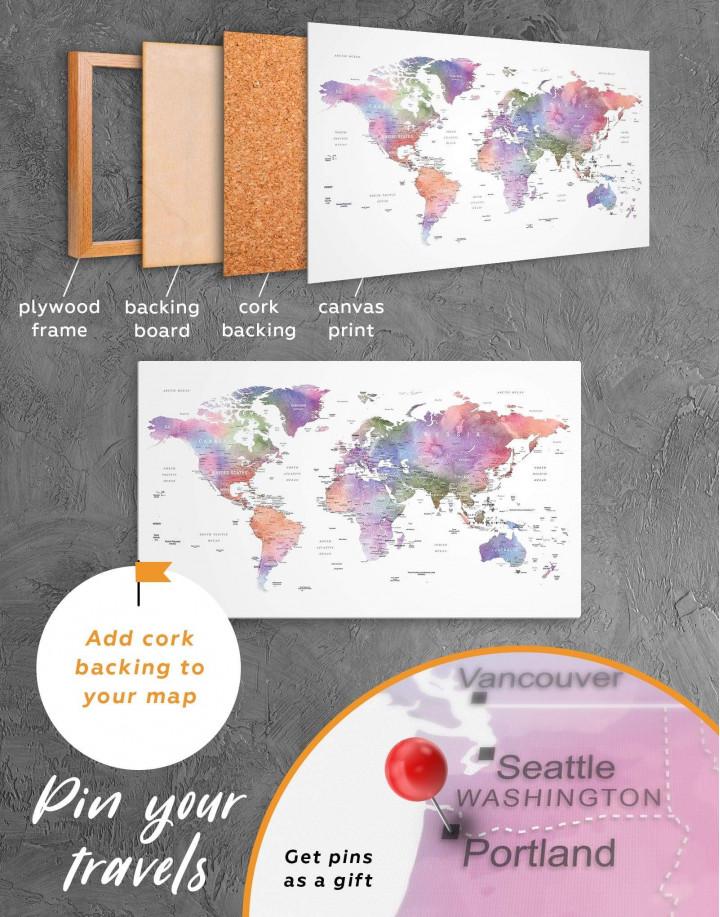 Violet Watercolor Push Pin World Map Canvas Wall Art - Image 3