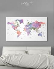 Violet Watercolor Push Pin World Map Canvas Wall Art - Image 6
