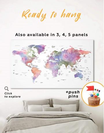 Violet Watercolor Push Pin World Map Canvas Wall Art