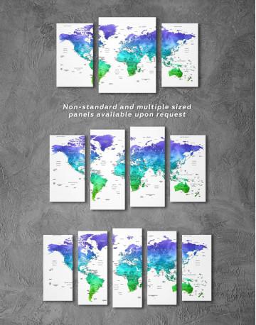 Green and Blue Watercolor Pushpin World Map Canvas Wall Art - image 5