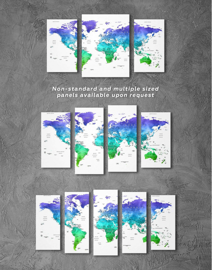 Green and Blue Watercolor Pushpin World Map Canvas Wall Art - Image 1