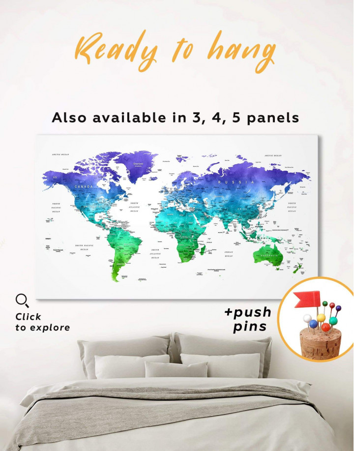 Green and Blue Watercolor Pushpin World Map Canvas Wall Art - Image 0