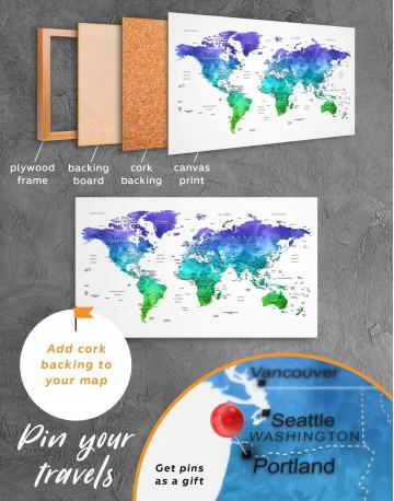 Green and Blue Watercolor Pushpin World Map Canvas Wall Art - image 3
