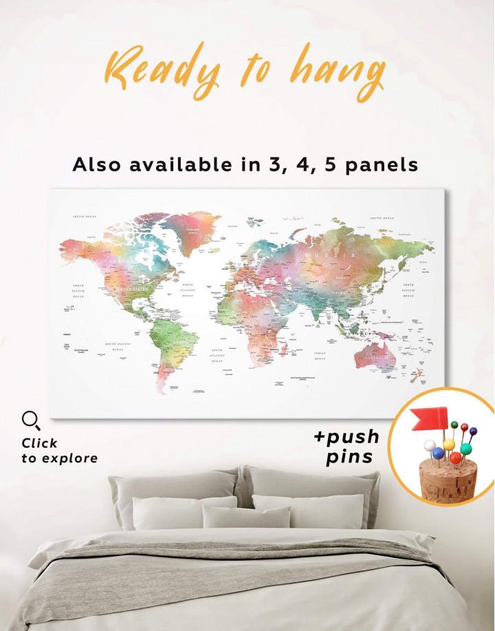 Watercolor World Travel Push Pin Map Canvas Wall Art - Image 0