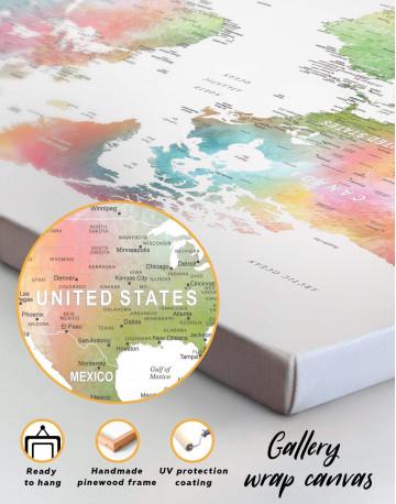 Watercolor World Travel Push Pin Map Canvas Wall Art - image 1