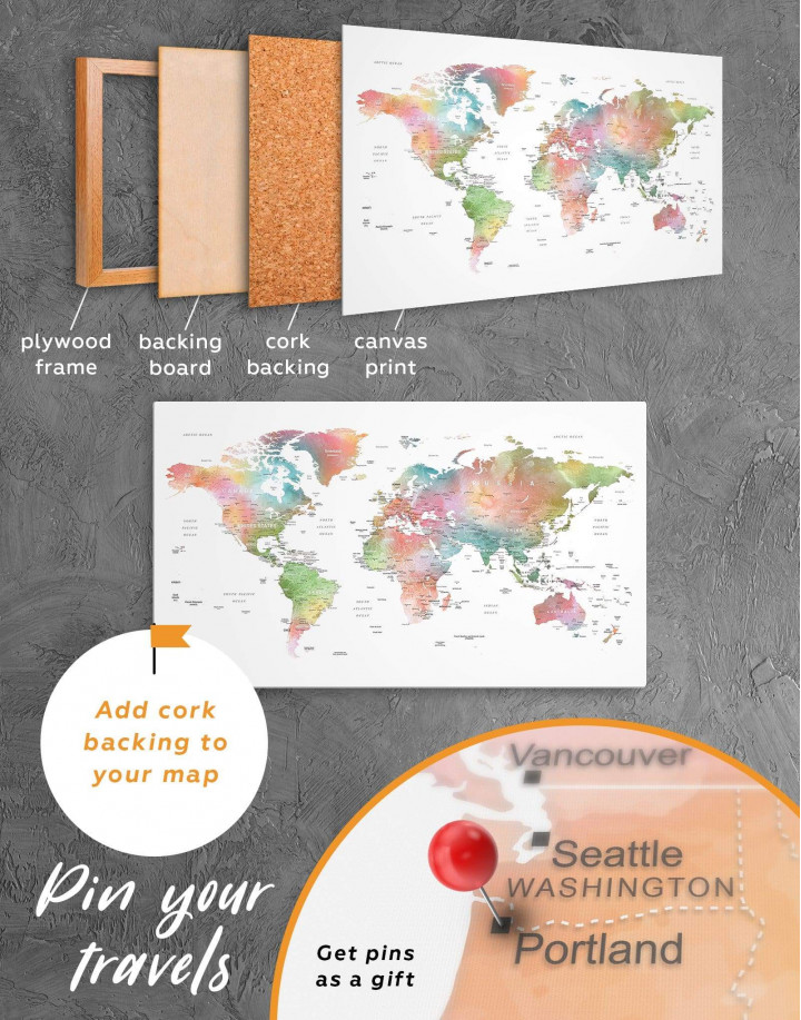 Watercolor World Travel Push Pin Map Canvas Wall Art - Image 3