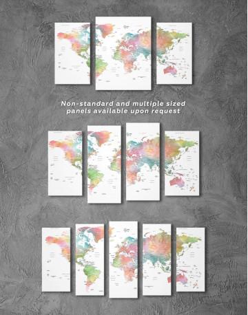 Watercolor World Travel Push Pin Map Canvas Wall Art - image 4
