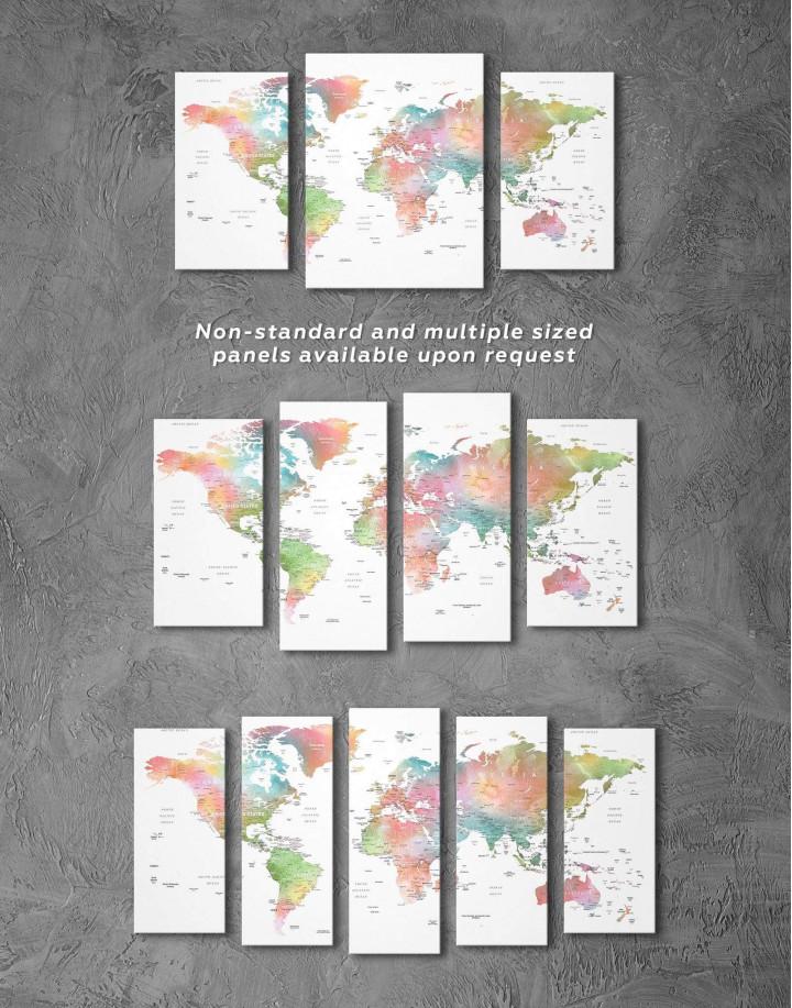 Watercolor World Travel Push Pin Map Canvas Wall Art - Image 2