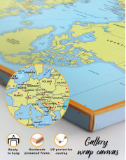 Political World Map with Pins Canvas Wall Art - Image 6