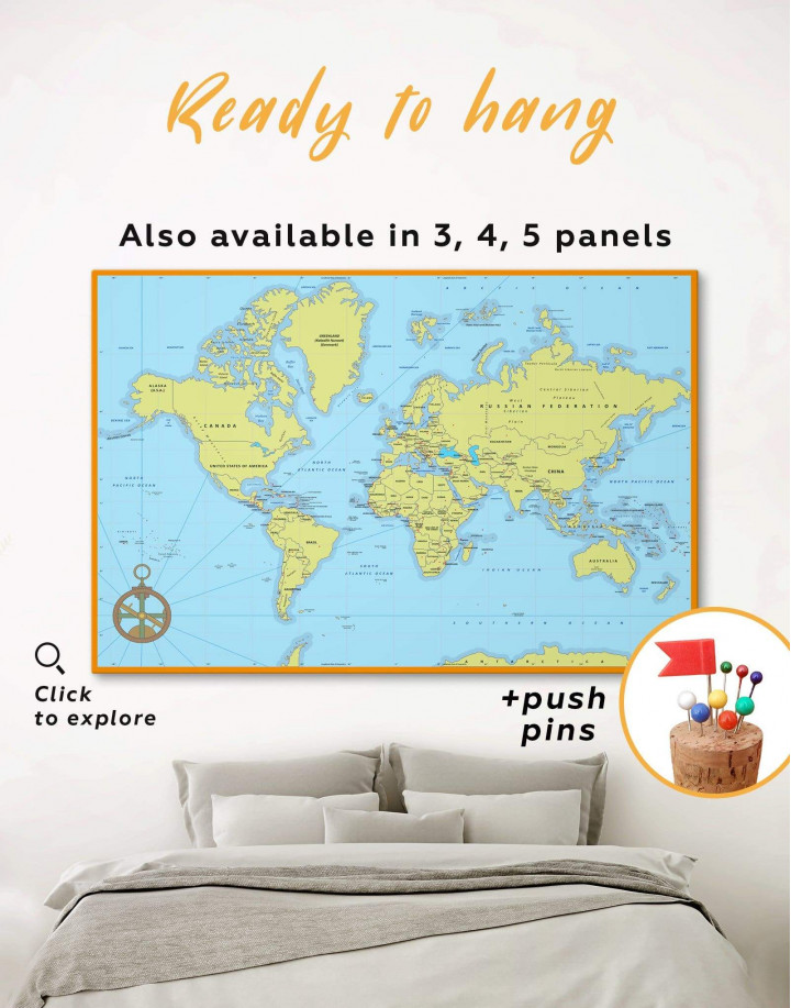 Political World Map with Pins Canvas Wall Art