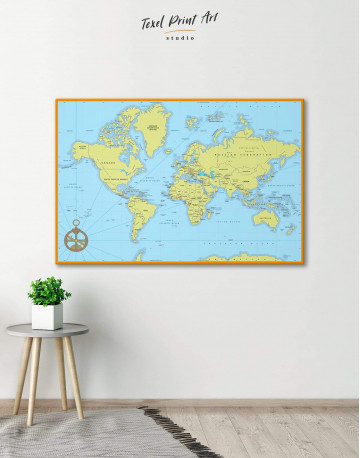 Political World Map with Pins Canvas Wall Art - image 1