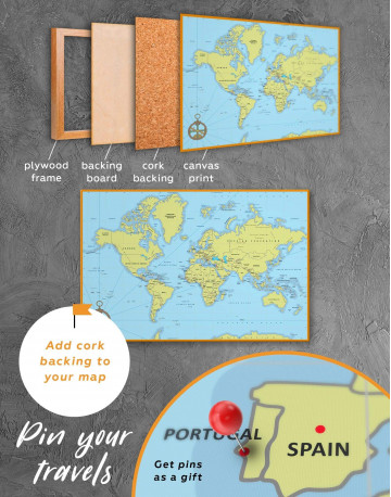 Political World Map with Pins Canvas Wall Art - image 4