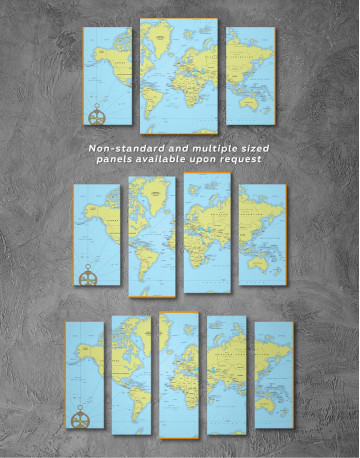 Political World Map with Pins Canvas Wall Art - image 3