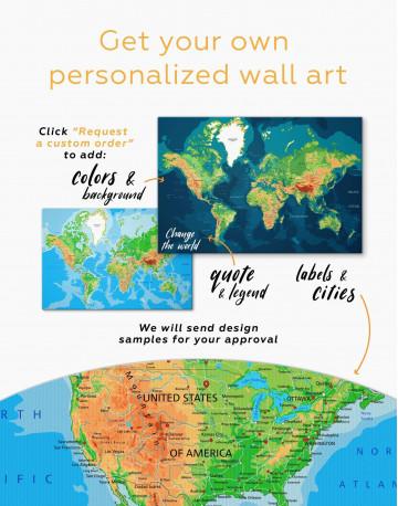 Push Pin World Travel Map Canvas Wall Art - image 2