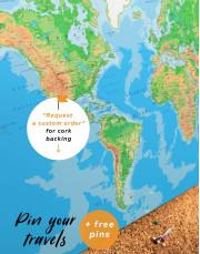 Push Pin World Travel Map Canvas Wall Art - Image 1