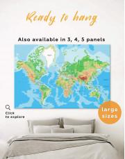 Push Pin World Travel Map Canvas Wall Art - Image 0