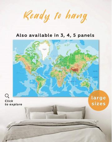 Push Pin World Travel Map Canvas Wall Art