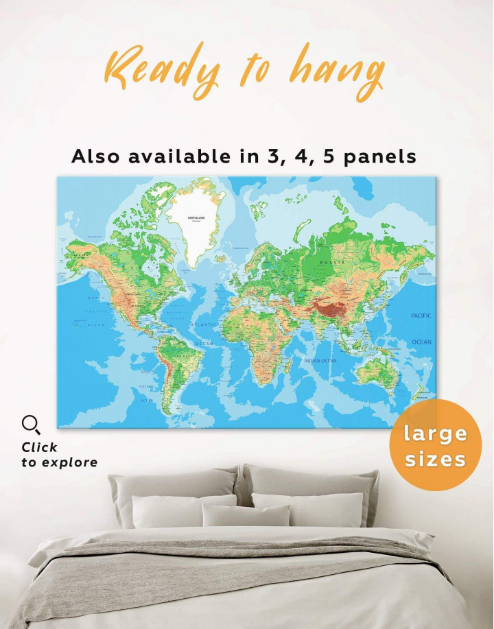 Push Pin World Travel Map Canvas Wall Art - Image 0