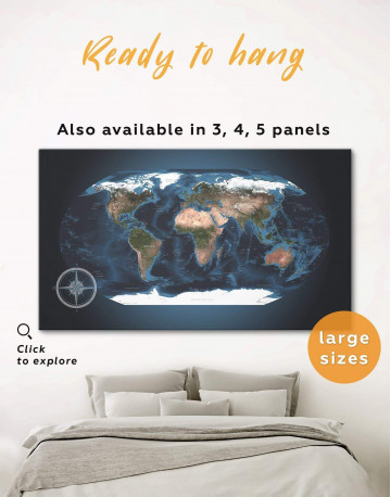 Topographic World Map Canvas Wall Art