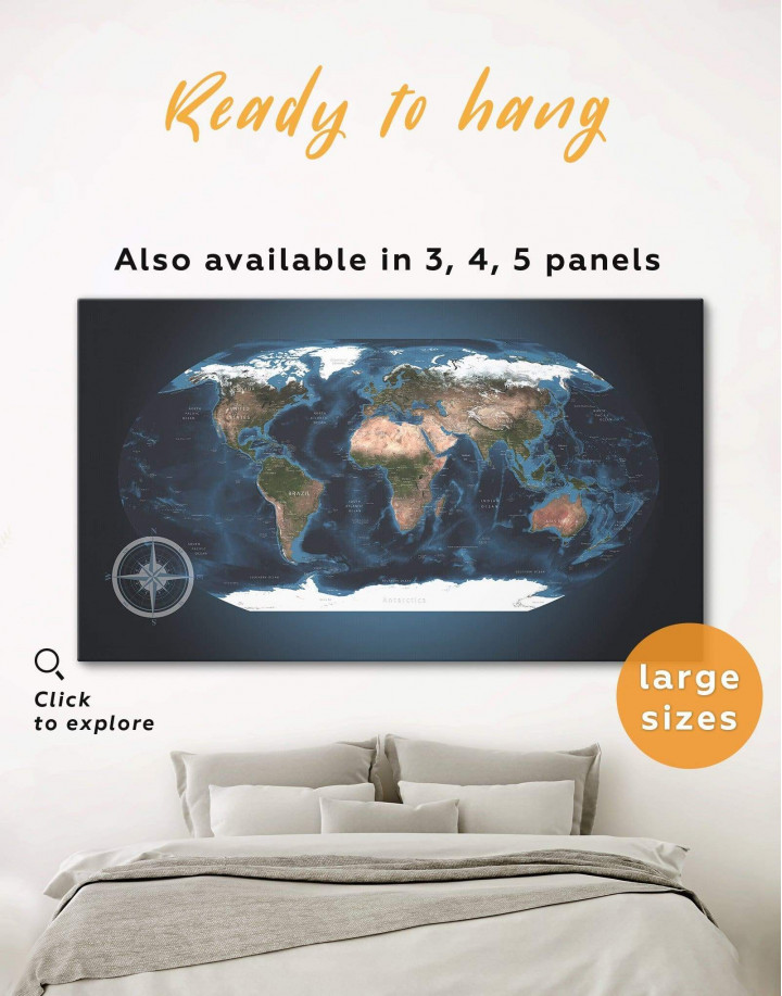 Topographic World Map Canvas Wall Art - Image 0