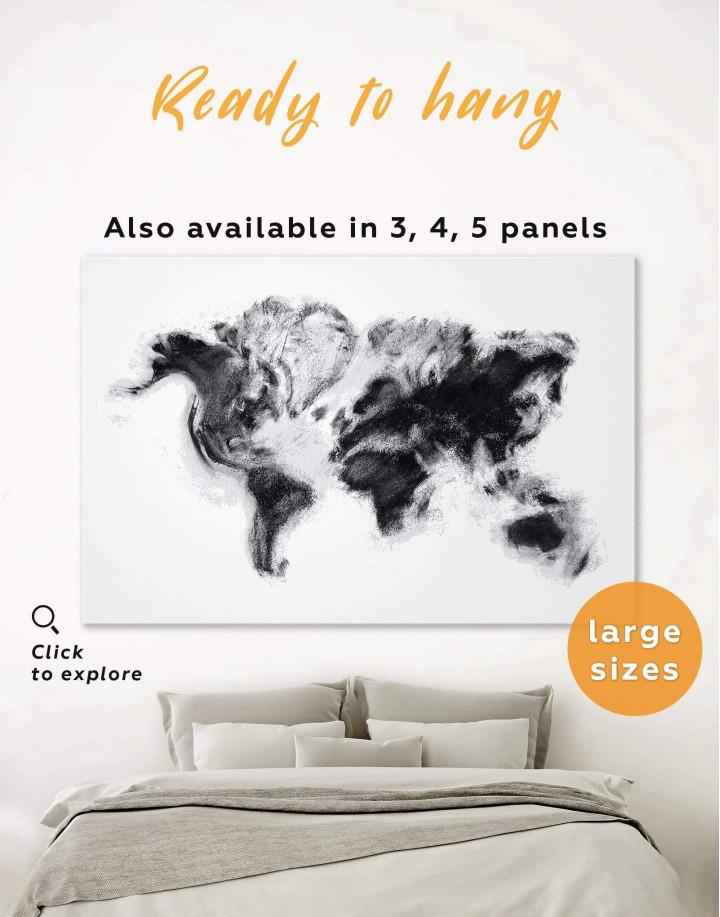 Modern World Map Smoke Canvas Wall Art - Image 0