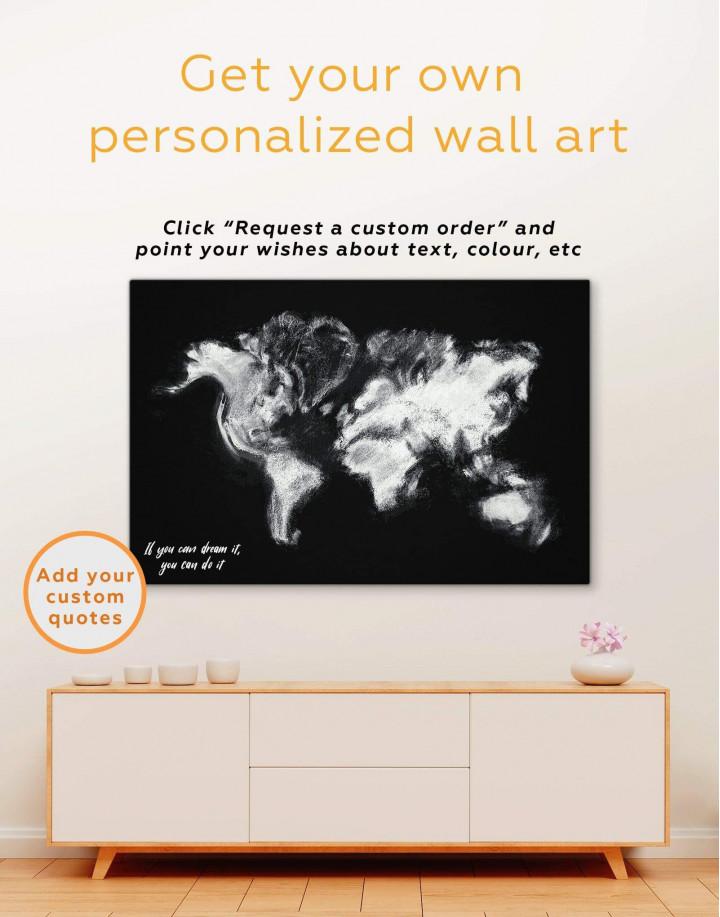 Modern World Map Smoke Canvas Wall Art - Image 1
