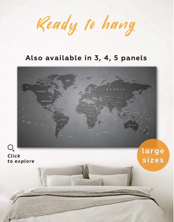 Grey Push Pin World Map Canvas Wall Art