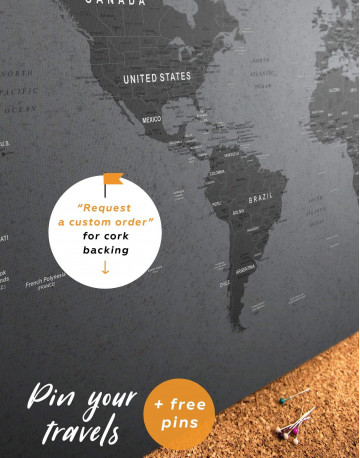 Grey Push Pin World Map Canvas Wall Art - image 5
