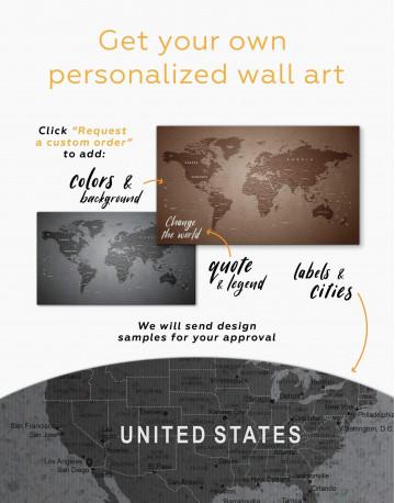 Grey Push Pin World Map Canvas Wall Art - image 4