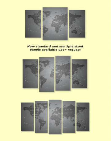 Grey Push Pin World Map Canvas Wall Art - image 2