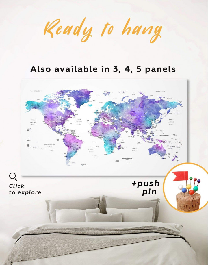 Violet Travel World Map Canvas Wall Art - Image 0