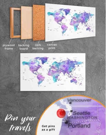 Violet Travel World Map Canvas Wall Art - image 3