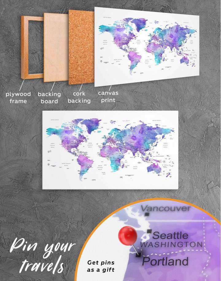 Violet Travel World Map Canvas Wall Art - Image 5