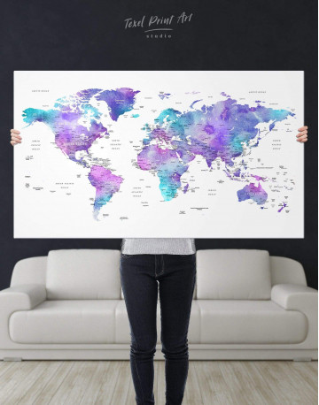 Violet Travel World Map Canvas Wall Art - image 7