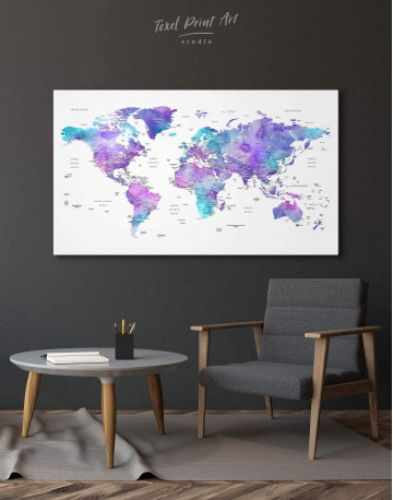 Violet Travel World Map Canvas Wall Art - image 4