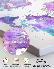 Violet Travel World Map Canvas Wall Art - Image 1