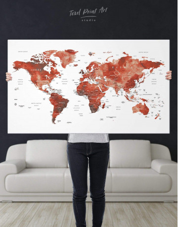 Burgundy Travel Map With Pins Canvas Wall Art - image 1