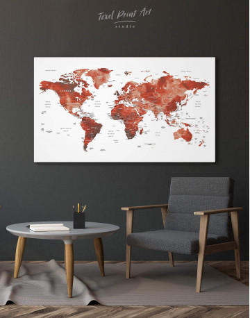Burgundy Travel Map With Pins Canvas Wall Art - image 7