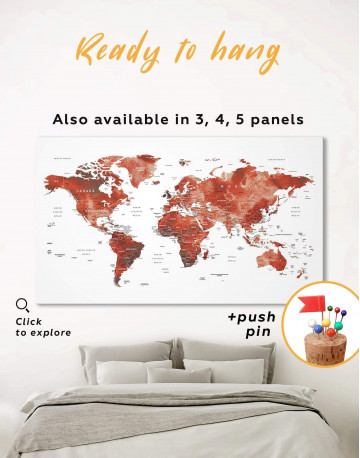 Burgundy Travel Map With Pins Canvas Wall Art