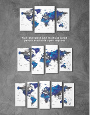 Blue and Grey Travel World Map Canvas Wall Art - Image 5
