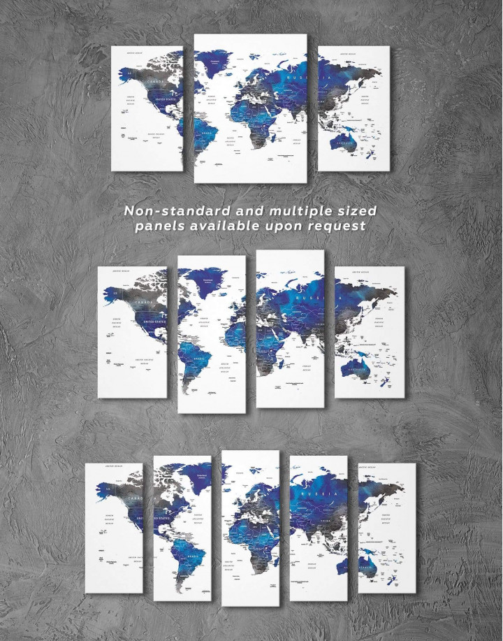 Blue and Grey Travel World Map Canvas Wall Art - Image 2